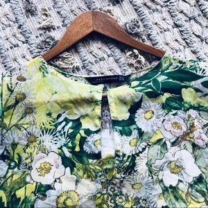 Zara Tops - Zara Floral Printed Semi-Sheer Blouse (M)